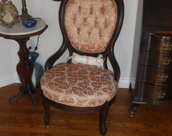 Antique Victorian Slipper Chair in Salmon Pink and cream   REDUCED