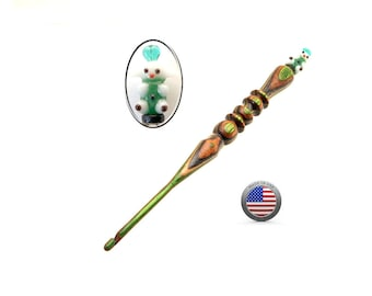 Handmade Wood Crochet Hook Easter Lamb with a Sweater  size F