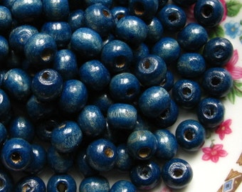 Indigo Blue Wooden Beads - Over 100 - 8mm Glossy Blue Wood Beads (WBD0023)