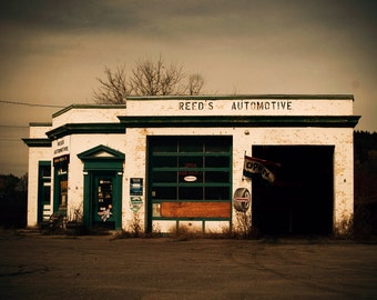 Vintage gas station, Americana, mid century, urban decay, car lover, automotive, man cave, crib, roadtrip, racing cars, city, film