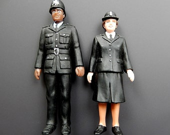 Vintage Dollhouse Miniature Hard Rubber Pair of Dolls Bobbies Police Man and Woman