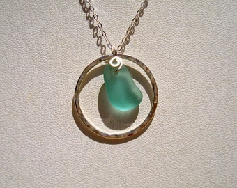 Sea Glass Necklace -Blue Circle -Sterling Silver Pendant