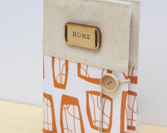 personalized rustic photo album in Lotta Jansdotter gold and withe glimma pattern