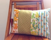 Vintage Striped Floral Throw Pillow