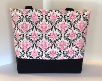 Handmade Damask Tote Beach bag  Madison Hot Pink Black . Standard size . Teachers tote bridesmaid gifts MONOGRAMMING Available