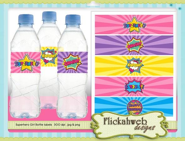 superhero water bottle label girl printables super by