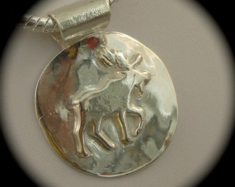 Rustic Moose Pendant - Recycled Silver on Thick Sterling Silver Chain- Personalization