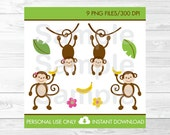 Cute Monkey Clipart / Jun...