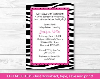 Trendy Pink Zebra Print Baby Shower Invitation / Zebra Print Baby Shower Invite / Hot Pink & Black / INSTANT DOWNLOAD / Editable PDF