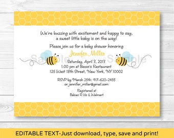 Bumble Bee Baby Shower Invitation / Bee Baby Shower Invite / Bee Baby Shower / Baby Boy Shower / INSTANT DOWNLOAD Editable PDF