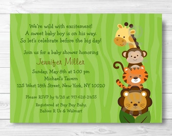 Cute Jungle Animal Baby Shower Invitation / Jungle Animal Baby Shower Invite / Safari Baby Shower Invite / Baby Boy Shower / PRINTABLE