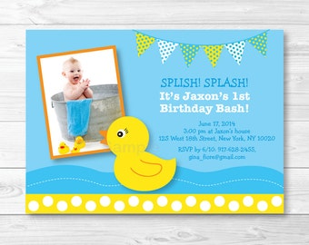Cute Rubber Duck Birthday Invitation / Rubber Duck Birthday Invite / 1st Birthday / 2nd Birthday / Any Age / PRINTABLE