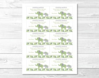 Elephant Diaper Raffle Tickets / Elephant Baby Shower / Elephant Baby Shower Raffle / Green & Grey / Gender Neutral / INSTANT DOWNLOAD