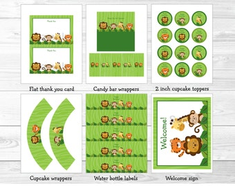 Safari Jungle Animal Birthday Party Package / Safari Birthday / Jungle Animal Birthday / Birthday Package / Baby Boy / INSTANT DOWNLOAD A437