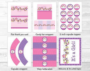 Cute Pink Owl Baby Shower Party Package / Owl Baby Shower Package / Owl Decorations / Pink & Purple / Baby Girl / INSTANT DOWNLOAD