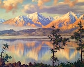 1962 California en plein air Landscape of Lake and Mountain Range by Lachmayr