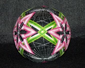 "Large 5-1/2""  Four Star Pattern Japanese Temari Ball-Japanese Ball Art-String Art-Hand Stitched-Home Decor-OFG Team"