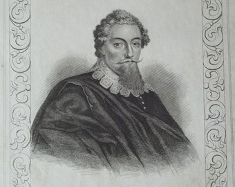 Antique Engravings from Townsend Alphabetic Chronology - Samuel Johnson, Edmund Burke, Francis Beaumont, John Fletcher, Oliver Goldsmith