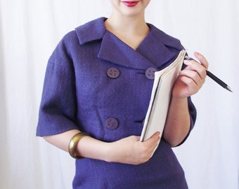 Vintage 1950s Suit - Purple Linen Jackie-O - Size 0 - Double Breasted Crop Jacket and High Waisted Skirt