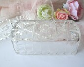 Vintage Anchor Hocking Star of David Glass Butter Dish