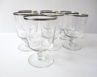 Vintage Platinum Trimmed Sherbet/Cocktail Glasses Set of Seven