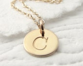 Personalized Necklace Initial Necklace 14k Gold Solid Gold Initial Necklace 14k Solid Gold Necklace Mother's Day Gift Holiday Gift