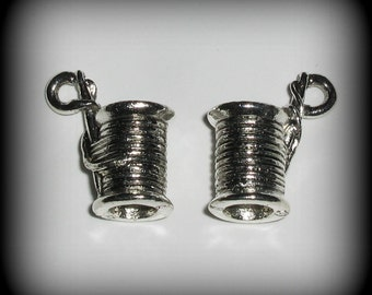 4 Spool of Thread or Sewing Needle Silver Pewter Charms (wu2c506s)