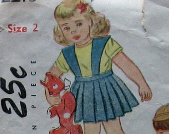 1940s Vintage Baby Girls Skirt And Jacket Pattern Simplicity 2218 Size 1