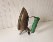 Antique vintage iron - charming with green handle