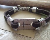 Leather Cross Bracelet - Hand Stamped Christian Jewelry - Confirmation First Communion Baptism Bracelet - Religious Bracelet - Cross Jewelry