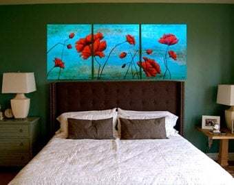 Red and Turquoise Poppies Original Paintings