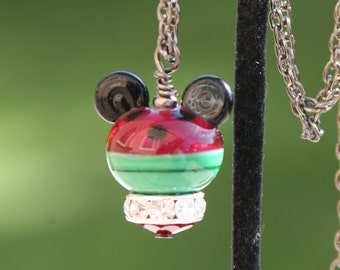 Watermelon Lampwork Mickey Minnie Mouse Style Disney Inspired DeSIGNeR Necklace Pendant Trendy Black Gunmetal Disneyland Summer Picnic