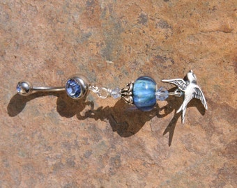 Bird Dove Religious and Magistic Lampwork DeSIGNeR Belly Button Ring Whismy and Unique
