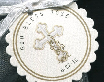 Personalized Baptism Christening Communion Favor Tags, gold cross, set of 25