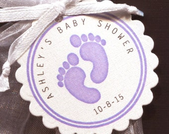 Personalized Baby Girl Baby Shower Favor Tags featuring purple baby feet, set of 75