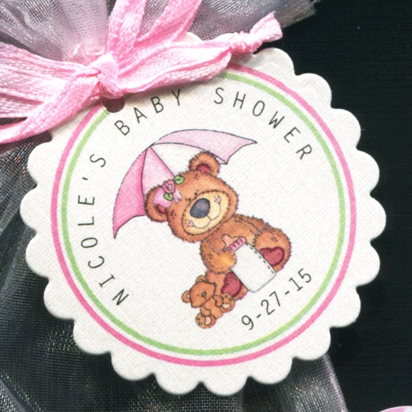 personalized baby shower favor tags teddy bear with pink