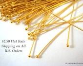 100 Gold Ball Headpins NF Plated Brass 2 inch, 23-24 Gauge - 100 pc - F4028BHP-G2100 - Select Qty