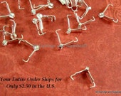 25 Silver Pinch Bail Ice Pick with Loop Plated Brass 9x3mm - 25 pc - 5883-15