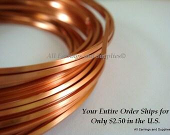 Copper Square Wire Non-Tarnish 21 Gauge Soft Tempered - 21 feet - STR9063WR-CSQ21