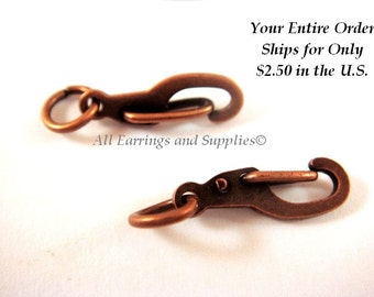 4 Antique Copper Self Closing Clasps Plated Brass with Jump Ring Included - 11x5mm - 4 pc - 6376-7