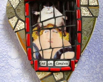 CAT in Control... Cat Lovers....Mosaic Heart wall hanging
