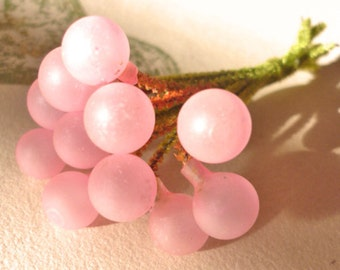 Vintage Millinery Pink Glass Berries with Chenille Stems