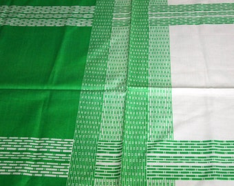 vintage 70s novelty fabric featuring huge green and white print, 1 yard, 4 inches