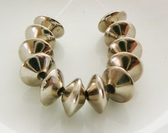 Vintage .. Metal Saucer Spacer Beads, UFO tapered bead