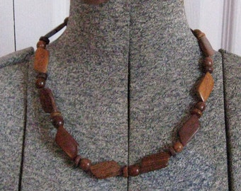 wood bead choker . wood choker .  60s Wood  choker  . Trapezoid Necklace