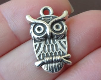 10 Owl Charms 14x23x3mm