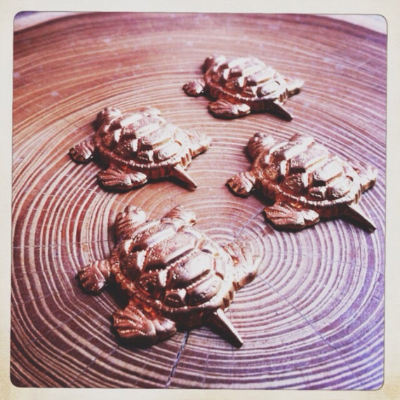 SALE turtle brass/copper vintage stampings - 4 pieces