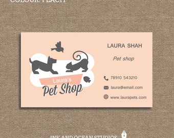 Printable stylish elegant retro, pet shop animal print business card, calling card for your business in a choice of 3 colours