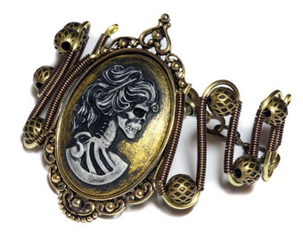 Steampunk Bracelet - Gold Skeleton Lady portrait Cameo