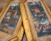 Italian Florentine Wall Plaque Pair Small